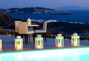 At Sundown, the Mykonos Ammos Villa offers a wonderful spot to relax and enjoy the island view.