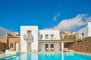 Exterior of a traditional Cycladic design Mykonos Ammos Villa with private swimming pool & veranda
