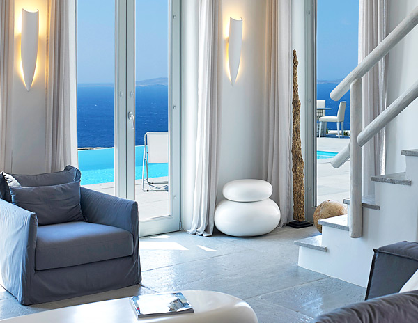 The Superior Mykonos Ammos Villa offers amazing panoramic views of the Aegean, pool and modern decor